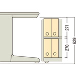 OPA・A4CAはA4ボックスファイルを2段収納してもデスク下に入ります。