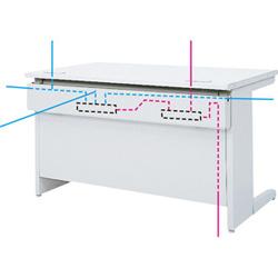 OAテーブル棚付、配線ボックスの利用
